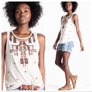 Lucky brand embroidered beaded tank